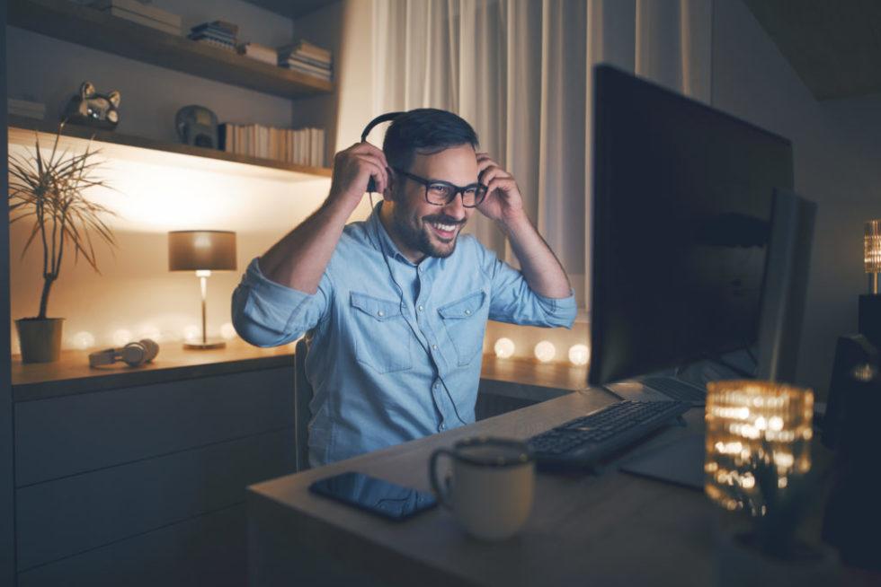 Man In Headphones Smiling